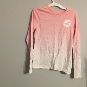 Hollister Ombré Long Sleeve Tee- Pink/White